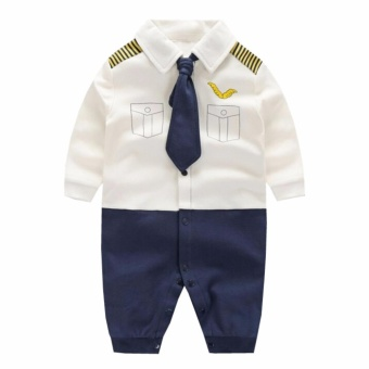 Newborn Cotton Baby Boys Pilot Uniform Clothes Baby Rompers Long Sleeve Body Suits Jumpsuits - intl