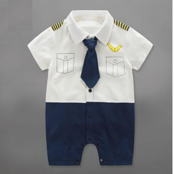 Newborn Cotton Baby Boys Pilot Uniform Summer Clothes Baby Rompers Short Sleeve Body Suits Jumpsuits - intl