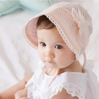 Newborn Infant Beach Bucket Hat Baby Girl Boy Sun Summer Cap LaceBonnet - intl
