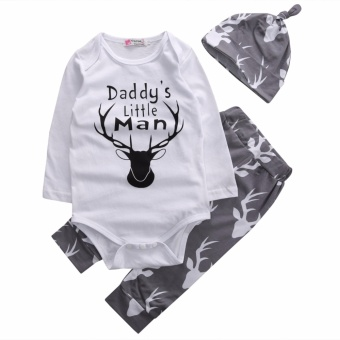 Newborn Kid Baby Boy Daddy's Little Man Romper+Long Pants HatOutfit Set Clothes - intl Price Philippines