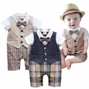 Newborn Kid Baby Boy Outfits Set Child Gentleman Jumpsuit Romper Bodysuit - intl