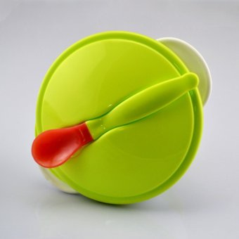 OH Toddler Baby Feeding Eating Food Non-slip Two-handed Sucker Bowl + Spoon Green