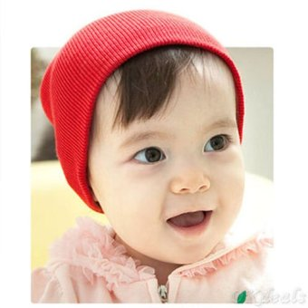 Okdeals Unisex Infant Baby Boy/Girl Soft Cotton Beanie Hat Knitted Kid Winter Warm Cap Red - intl
