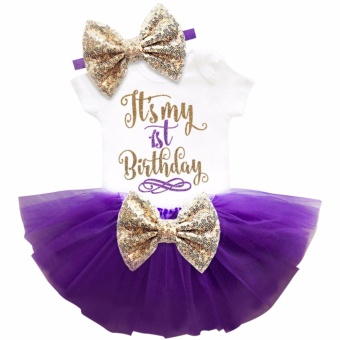 One year old baby girl birthday outfits lovely 3 pcs sets sequins bow headband rompers summer tulle mini dress - intl - 4