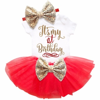 One year old baby girl birthday outfits lovely 3 pcs sets sequins bow headband rompers summer tulle mini dress - intl - 3