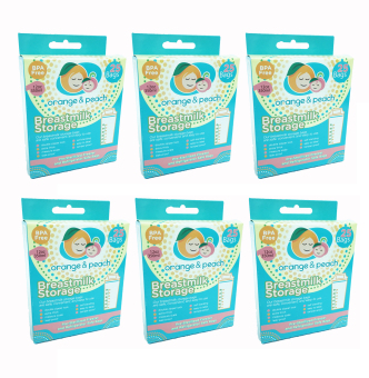 Orange and Peach Breastmilk Storage Bags Pack of 6
