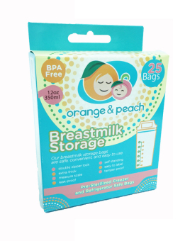 Orange and Peach Breastmilk Storage Bags (White/Peach)