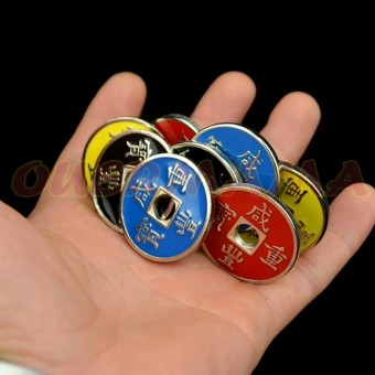 OUERMAMA Funny Coin Magic Tricks Chinese Coin Sets Magician Gimmick Close Up Mentalism Magic Props Good Birthday Gift for Kids and Friends Funny Toys - intl