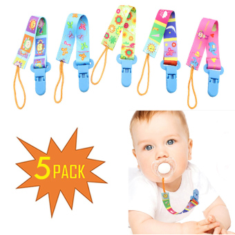 Pacifier Clip Set 5 Pack for Baby-Cute 2-Sided Designed Binkie Clips,Holder for Baby Soothie,Teething Toys - intl