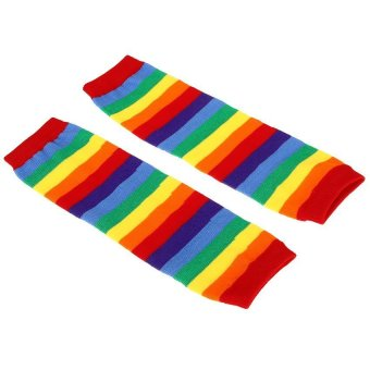 Pair of Leggings Socks Colorful Stripes (Intl)