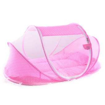 PAlight Portable Foldable Baby Crib Mosquito Net Set (Pink)