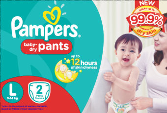 Pampers Baby Dry Pull-Up Diaper Pants L 2s Trial Pack