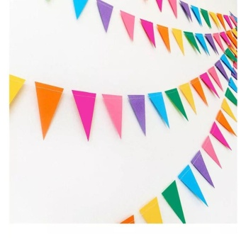 Paper Triangle Flags Bunting, Double-Sided Flash Style PennantBanner for Wedding, Event & Party Supplies 4M - intl