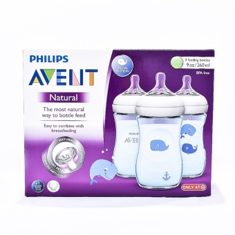 Philips Avent Natural 9oz Feeding Bottle (Special Edition - Blue),Pack of 3 Price Philippines