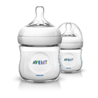 Philips Avent Natural Baby Bottle 2 Bottles, 4oz/125ml, Newbornflow nipple, 0m+ SCF690/27 (Clear)