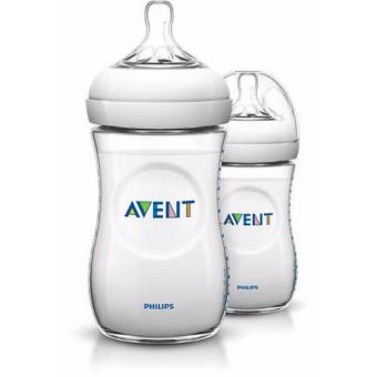 Philips Avent Natural Baby Bottle 2 Bottles, 9oz/260ml, Slow FlowNipple, 1m+ SCF693/27 (Clear)
