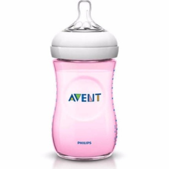 Philips Avent Natural Baby Bottle SCF694/17 1 Bottle 9oz/260ml SlowFlow Nipple 1m+ (Pink)