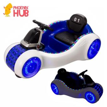 PhoenixHub Alien Car Electric Remote Controlled Ride On Car with Music and Steering Wheel (Blue/White)