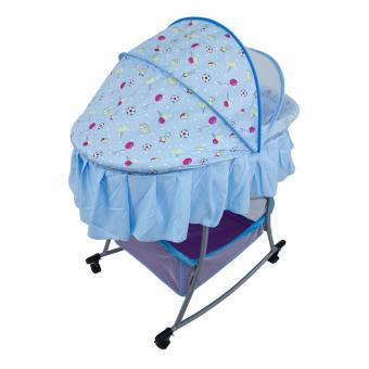 PHub WyonBaby Baby Cradle Bed Crib Rocker with Storage Basket BLUE - 4