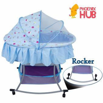 PHub WyonBaby Baby Cradle Bed Crib Rocker with Storage Basket BLUE - 5