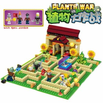 Plants vs Zombies Garden maze struck game Building Blocks Bricks Like figures My world Minecraft Toys for children gift - intl