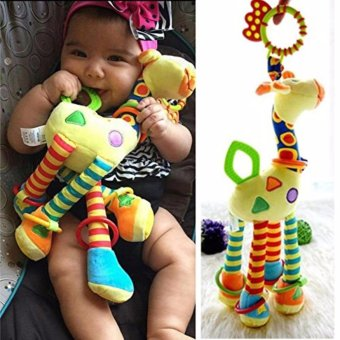Plush Giraffe Animal, YKS Baby Plush Toy Developmental Interactive Toy Infant Baby Development Soft Giraffe Animal Handbells Rattles Handle Toys For Crib, High Chair And Interactive Playing - intl