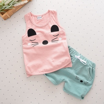 Popular 2PCS Summer Children Girls&boys Clothing Sets FashionCartoon Baby Costume Shorts Kids Clothing Pink - intl