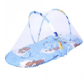 Portable Baby Bed Crib Folding Mosquito Net (BLUE)