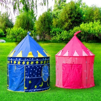 Portable Blue/Pink Prince Foldable Tipi camping toy Tent Kids Children Castle Cubby Play House For Kids Best Gift No Ocean Ball - intl