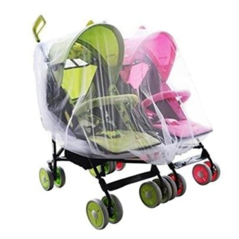 Portable Universal Twin Baby Stroller Mesh Mosquito Net CoverPreventing Bee Insect Bug for Tandem Side by Side StrollersPushchairs - intl
