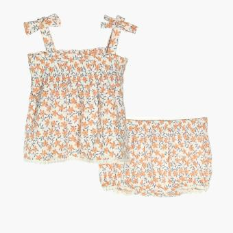 Pure Girls Floral Top and Bloomers Set (Orange) Price Philippines
