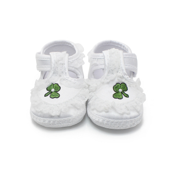 Pure White Newborn Baby Shoes Soft Sole Baptism Shoes & Christening Shoes Hook & Loop Baby Girls Shoes - Intl