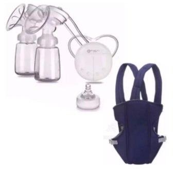 RH228 Mother Manual Double Electric Breast Pump (White) With BabyCarrier Sling Wrap Rider Infant Comfort Backpack (Blue)