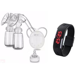 RH228 Mother Manual Double Electric Breast Pump (White) With Fashion Touch Screen Waterproof Candy Color Sport LED Watch