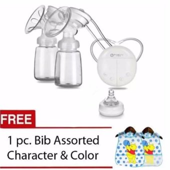RH228 Mother Manual Double Electric Breast Pump (White) with Free 1 Pc. Bib Assorte Character & Color