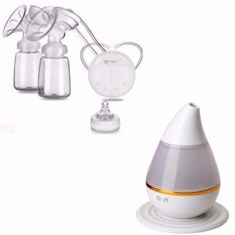 RH228 Mother Manual Double Electric Breast Pump (White) withUltrasound Atomization Humidifier Colorful Gradient Light (White)