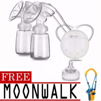 RH228 Mother Manual Double Electric Breast Pump (White)with free Moon Walk Assistant Walker