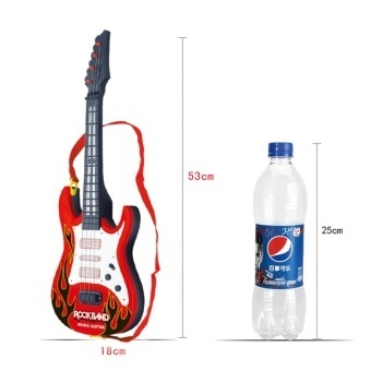 Rock Band Music Electric Guitar 4 Strings Kids Musical InstrumentsEducational Toy - Red Flame - intl