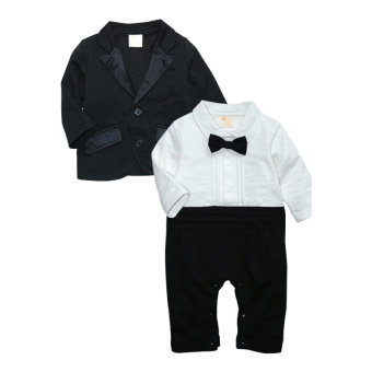 Rorychen Baby Boys 2PCS Gentleman Suit: Semiformal Romper + Coat - 2