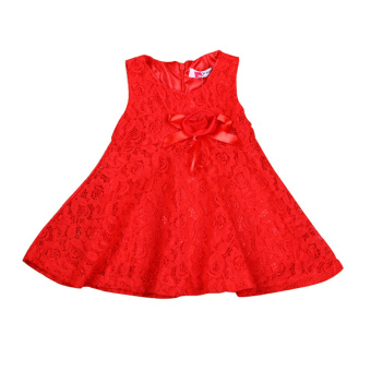 Rorychen Baby Kids Girls Sleeveless Flower Lace Dress(Red)