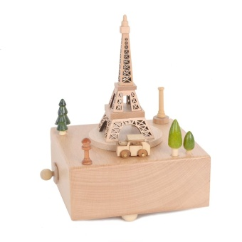 Rotatable Eiffel Tower Wooden Music Box Toy Decoration Christmas Gift for Kids - intl