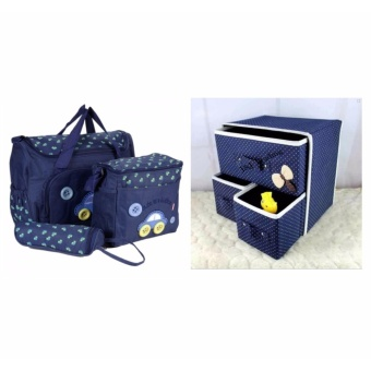 Rukia 4-in-1 MUMMY Multi-Functional Baby Diaper Nappy Bag - DarkBlue with Foldable Non-Woven Fabric Cube with Three Drawers Design(Blue)