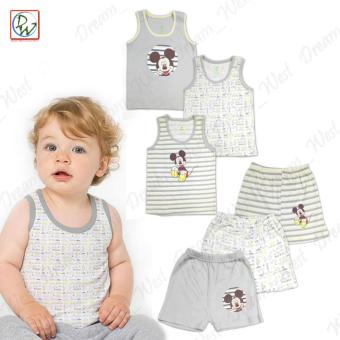 Sando & Short Set of 6 Baby Mickey by Disney Baby 9-12 MonthsOld (Grey/Yellow)