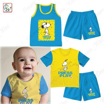 Sando Tshirt Short Press Play Baby Boy Clothing Set of 4 by Peanuts6-9 Months (Blue/Yellow)