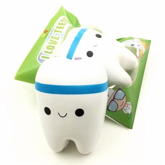 Sanqi Elan 11cm Simulation Cute Teeth Soft Squishy Super Slow Rising Original Packing Ballchain Kid Toy - intl