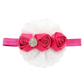 Sanwood Baby Girl Rose Lace Ribbon Elastic Headbands Rose-Red