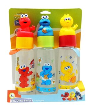 Sesame Beginnings 8oz Feeding Bottle with Character Hood Teether Pack of 3