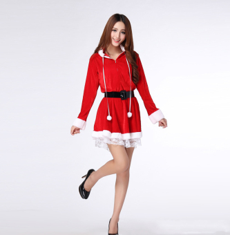 Sexy Christmas Red dress skirt Suit Women Santa Claus Clothing forparty - intl