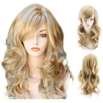 Sexy Golden Blond Long Big Wave Mix Full Volume Curly Wavy Wig Long Bang Women's Girl Hot Full Hair Wigs Cosplay Costume Party Anime Wigs (Gold) - intl