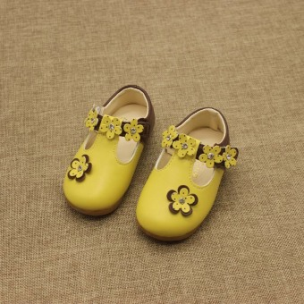 Small Baobao Korean-style soft bottom non-slip flowers princess shoes leather shoes
